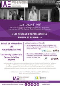 OpenS IAE : « Les réseaux professionnels : enjeux et réalités » @ Amphithéâtre 400, IAE Campus de la Nive | Bayonne | Nouvelle-Aquitaine | France